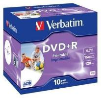 Média DVD+R Verbatim 4.7GB 16x, Printable,Box-10ks