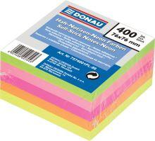 Samolepicí bloček v neonových barvách, 76x76mm, 400 listů, DONAU, mix barev