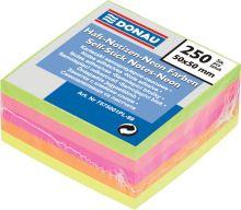 Samolepicí bloček v neonových barvách, 50x50mm, 250 listů, DONAU, mix barev