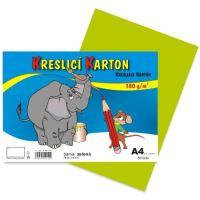 kreslící karton barevný zelený A4 180gr. / 50 ks