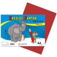 kreslící karton barevný červený A4 180gr. / 50 ks