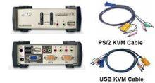ATEN 2 port KVMP USB+PS2, USB hub, aud. 1,2 m kab.