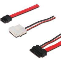 PremiumCord kabel SATA datový + napájecí 0.5m slim