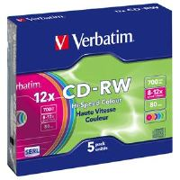 VERBATIM CD-RW(5-Pack)/Slim/Colours/12x/700MB