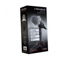 """Stolní mikrofon C-TECH MIC-03, 3,5"""" stereo jack, 2,5m"""