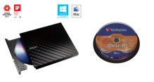 BUNDLE ASUS DRW-08D2S-U BLACK+ Verb. DVD-R 10cake
