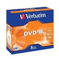 Média DVD-R Verbatim 4.7GB 16x, Silver, Box - 5 ks