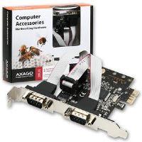 AXAGO PCI-Express adapter 2x sériový port + LP